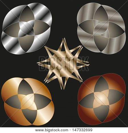 A set of five element for design Image with the effect of different metals - bronze, silver, copper, iron, gold can be used for decoration or photo frame Stock vector illustration