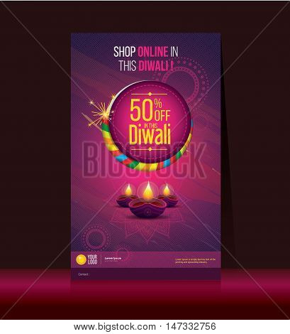 Diwali Festival Offer Poster Design Template with Creative Lamps
