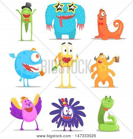 Monsters Having Fun At The Party. Funky Creatures Colorful Characters With Party Attributes On White Background.