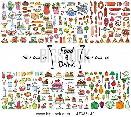 Vector set with hand drawn isolated colored doodles on the theme of food and drink. Illustrations of fruits vegetables dairy products sausages cakes bread. Sketches for use in design