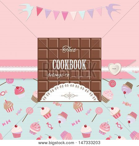 Cute template for girls. Can be used for scrapbook design cookbook diary photo album cover. Seamless pattern included.