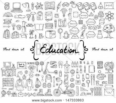 Vector set with hand drawn isolated isolated doodles on the theme of education. Illustrations of school and university symbols knowledge sport stationery. Sketches for use in design