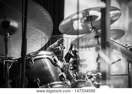 Drum Set, Black And White