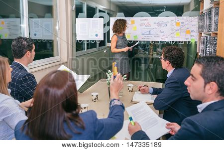 Female coach looking at business graph while businesswoman holding highlighter and having a question about diagrams