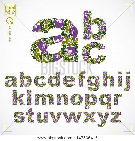 Floral font hand-drawn vector lowercase alphabet letters decorated with botanical pattern. Green ornamental typescript vintage design lettering.
