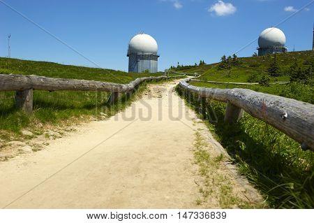 GROSSER ARBER, GERMANY - JUNE 16 2013: NATO distant early warning, high-resolution radar on 1456 m high peak in Bayerische Wald. National park in Bavaria.
