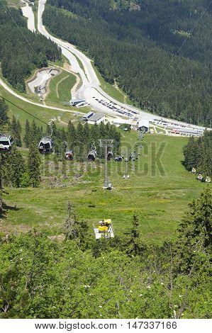 GROSSER ARBER, GERMANY - JUNE 16 2013: Gondola lift to the summit of Mt. Grosser Arber (Bavarian Forest, Lower Bavaria, Germany).