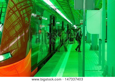 MOSCOW, RUSSIA - SEPTEMBER 13, 2016: Central Circle Line MCC Lastochka train at the station Delovoj centr