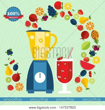 Fresh smoothie vector concept. Menu element for cafe or restaurant with energetic fresh drink made in flat style. Fresh juice for healthy life.