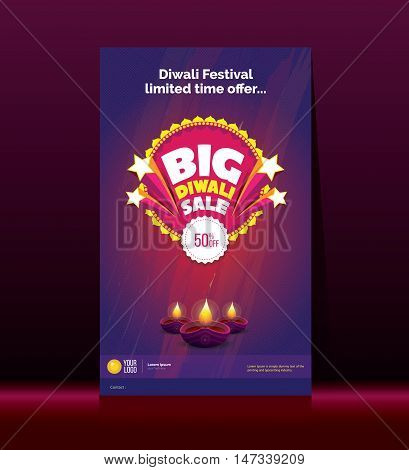 Big Diwali Festivel Sale Poster Design Template with 50% Discount and Lamps