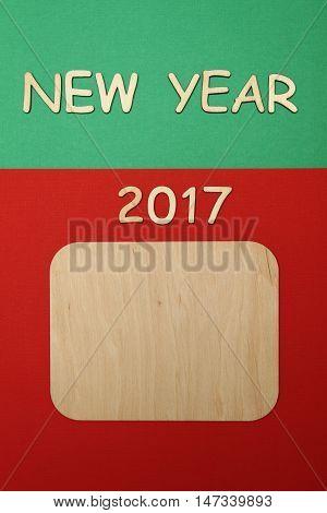 Wooden calendar calendar for the new year 2017.