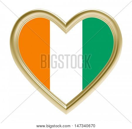 Cote de Ivoire flag in golden heart isolated on white background. 3D illustration.
