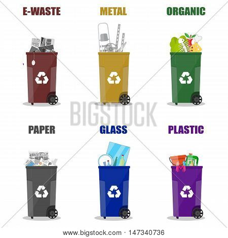 Diffrent waste recycling categories. Garbage bins in differend colors. Metal, glass, e-waste, plastic, paper, organic. vector illustration in flat style isolated on white