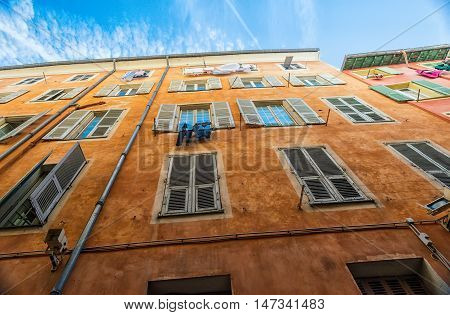 Typical Facade of Nice old town on French Riviera