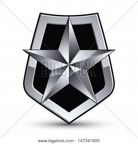 Vector stylized symbol isolated on white background. Glamorous pentagonal silver star