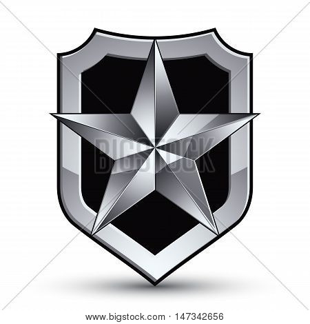Gray geometric symbol stylized silver star best for use in web and graphic design corporate vector silvery icon isolated on white background.