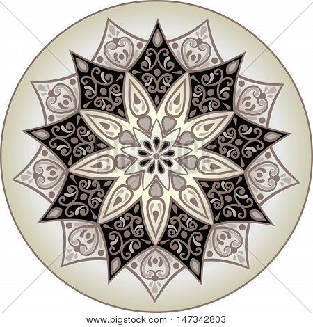 Drawing of a floral mandala in brown and milky colors on a white background. Hand drawn tribal  vector stock illustration
