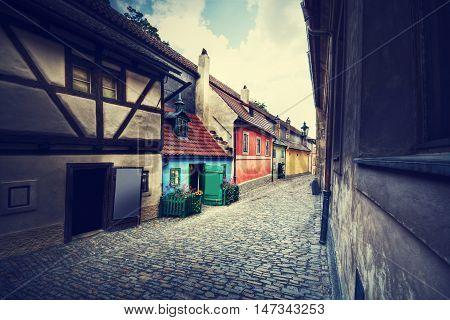 Empty Golden Street of Hrandcany Prague Czech Republic. Retro vintage picture.
