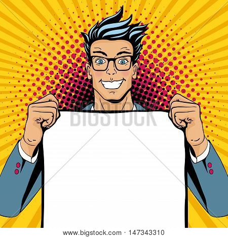 Wow Pop Art Man. Young Happy Surprised Man In Glasses With Open Smile Holding Empty Poster. Vector I