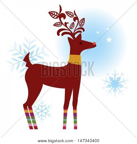 Reindeer with decorative antlers,knitted striped leggings and knitted neck warmer (use with or without antlers)
