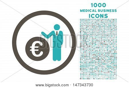 Euro Economist rounded vector bicolor icon with 1000 medical business icons. Set style is flat pictograms, grey and cyan colors, white background.