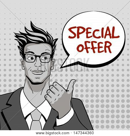 Special Offer. Young Hansome Man In Glasses Looking And Pointing At Speech Bubble. Vector Illustrati