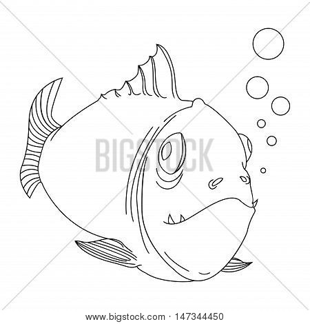 Sketch of a cartoon fish on white background. Picture for children's coloring books.