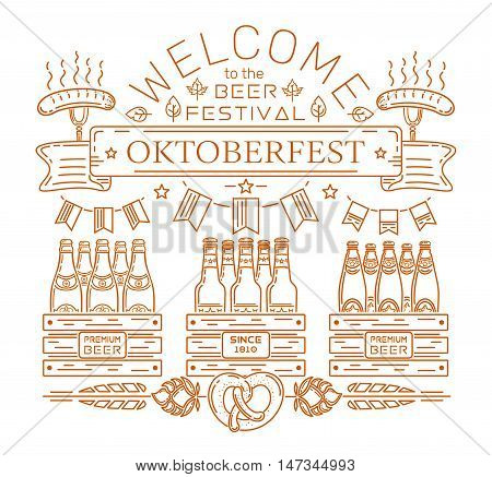 Oktoberfest design. Welcome to the beer festival. Premium beer. Line icons and lettering for Oktoberfest. Vector illustration