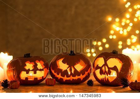 Three Creepy Pumpkins
