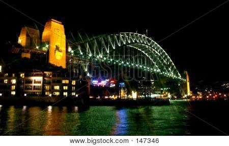 Sydney Harbor Bridge In Night Lights.