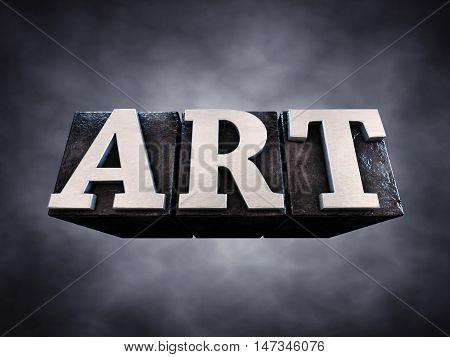 Art letterpress typesetting on dark background , 3d illustration