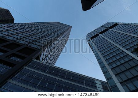 FRANKFURT AM MAIN, GERMANY - JUNE 14, 2015: Modern skyscrapers in the Bankenviertel (banking district) in Frankfurt am Main, Hesse, Germany.