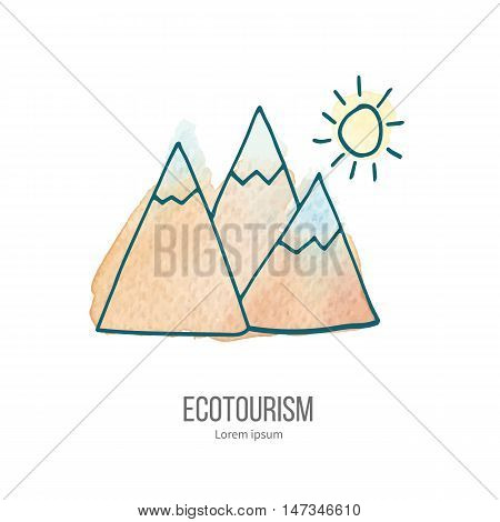 Mountains and sun. Ecotourism monochromatic line design element on hand painted abstract watercolor texture. Emblem logo template isolated on white background. Hand drawn doodle vector illustration.