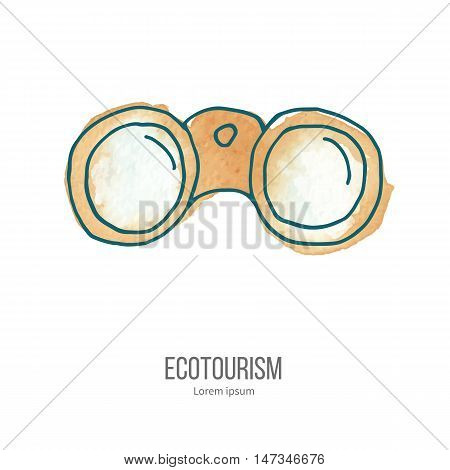 Binoculars. Ecotourism monochromatic line design element on hand painted abstract watercolor texture. Emblem, logo template isolated on white background. Hand drawn doodle vector illustration.