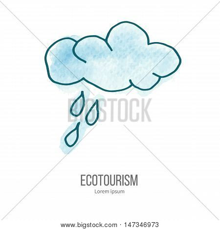 Cloud and rain drops. Ecotourism monochromatic line design element on hand painted abstract watercolor texture. Emblem logo template isolated on white background. Hand drawn doodle vector illustration.