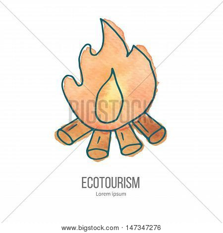 Bonfire with logs and flame. Ecotourism monochromatic line design element on hand painted abstract watercolor texture.