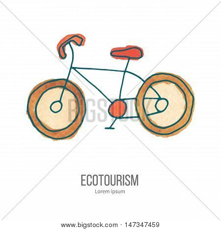 Bicycle. Ecotourism monochromatic line design element on hand painted abstract watercolor texture.