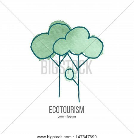 Deciduous trees. Ecotourism monochromatic line design element on hand painted abstract watercolor texture.