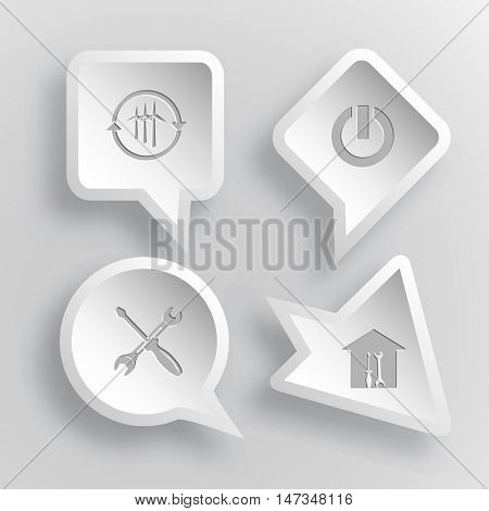 4 images: wind turbine, switch element, screwdriver and spanner, workshop. Tehnology set. Paper stickers. Vector illustration icons.