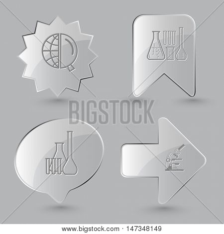 4 images: globe and magnifying glass, chemical test tubes, lab microscope. Science set. Glass buttons on gray background. Vector icons.
