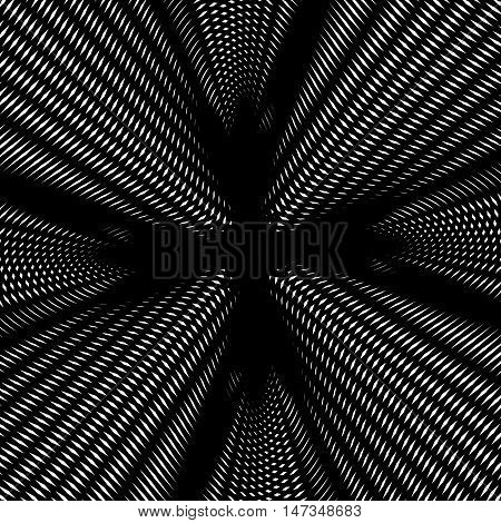 Optical illusion creative black and white graphic moire backdrop. Decorative lined hypnotic contrast vector background.