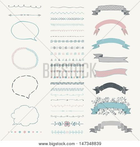 Set of Colorful Hand Drawn Doodle Design Elements. Rustic Decorative Speech Bubbles, Dividers, Ribbons, Banners, Swirls, Frames, Objects. Vector Illustration