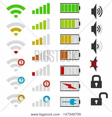 Set of mobile phone icons. Isolated vector illustration