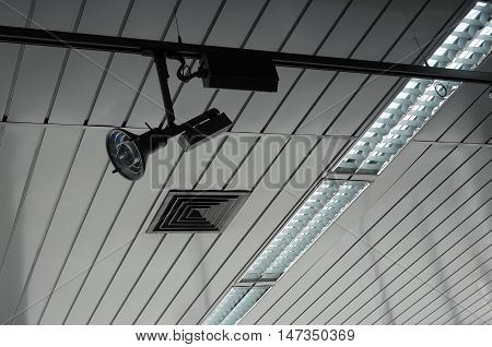 Studio lighting ceiling lamps and controlled track spotlight on rail system