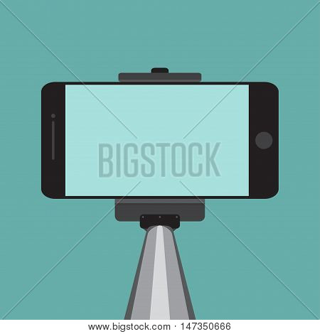 Selfie stick with mobile or cell phone. Vector illustration EPS10