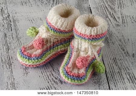 Newborn Booties For Christening Or Birthday Invitation Announcement