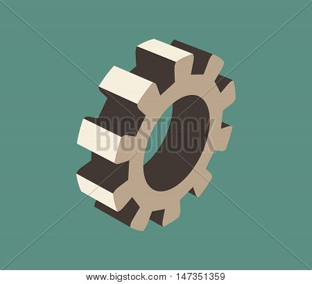 Gear model on blue background. Precision machinery relative backdrop