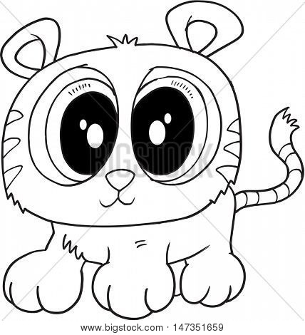 Cute Doodle Tiger Vector Illustration Art