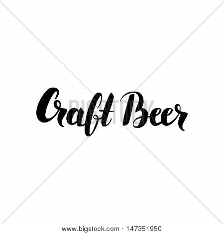 Craft Beer Lettering Card. Vector Illustration of Ink Brush Cursive Calligraphy Isolated over White Background.