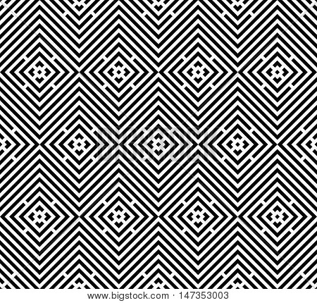 Abstract seamless pattern. Modern background in black and white style. Repeating geometric tiles with rhombus elements.